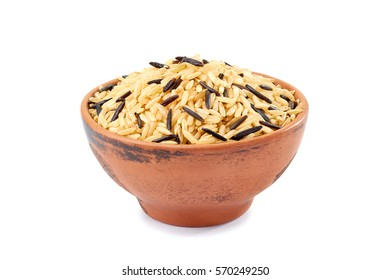 Brown and black rice in ceramic bowl on white