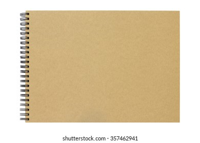 Brown blank notepad on white background