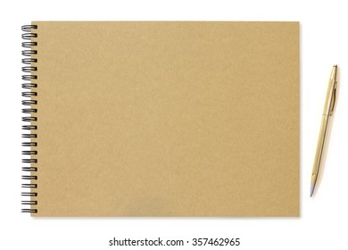 Brown blank notepad with pen on white background