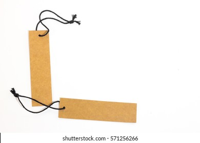 Brown blank paper price tag isolate on white background