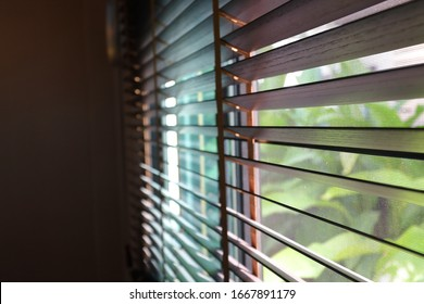 brown blind shade and mosquito wire screen on window, interior design decoration in home office