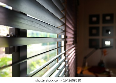 brown blind shade on window, interior design decoration in home office