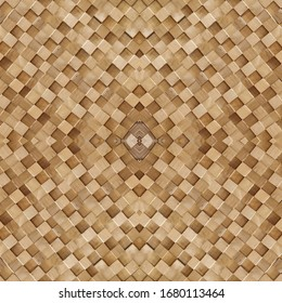 brown blocks structure textured wooden wall panel with abstract centered rhombus pattern, country style interior decoration background