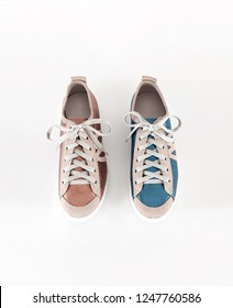 brown and blue flat shoes