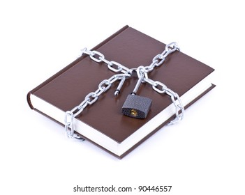 The brown book is linked chain and padlock isolated