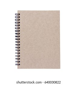Brown book separates the white background.