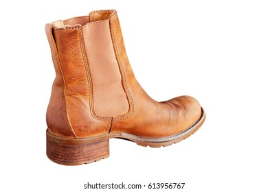Brown boots on a white background.