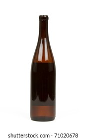 Brown Bottle of Alcohol Isolated on a White Background