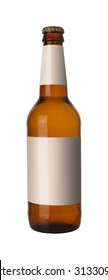 Brown bottle of beer with blank white label