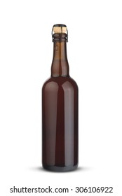 Brown bottle of beer isolated on white background.