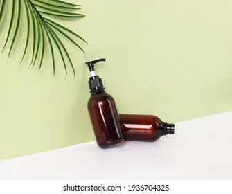 brown bottle on a green background.