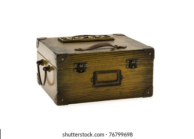Brown box for pictures on a white background