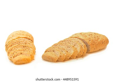 Brown bread sliced on isolated white background