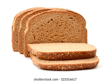 brown bread slices on white background