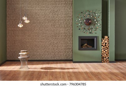 brown brick wall and green wall living room decoration fireplace and home ornaments interior style