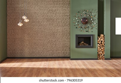 brown brick wall and green wall living room decoration fireplace and home object interior