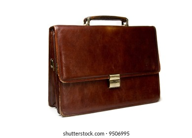 Brown briefcase isolated on the white background