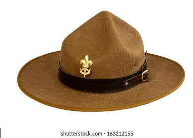 a brown brim hat (hat of boy scout) isolated on white