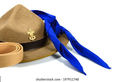 brown brim hat (hat of scout) isolated on white