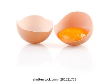 Brown Broken Egg isolated on white background