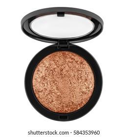 brown bronzer, powder, isolated on white background.