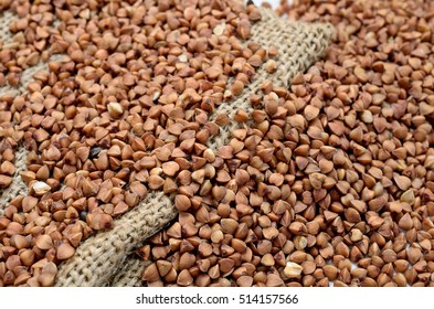 brown buckwheat on sack