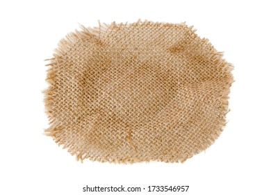 Brown burlap cloth isolated on white background with clipping paths for graphic design. Aged fabric that is woven from natural fibers in a vintage style. Abstract texture for wallpaper