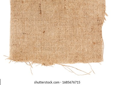 Brown burlap laying on white sheet. Abstract background. Texture of sackcloth. Background for banners, or wallpapers. Burlap Fabric Patch Piece, Rustic Hessian Sack Cloth