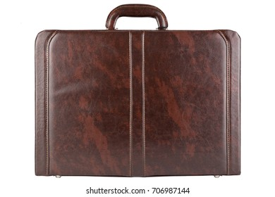 Brown business leather briefcase isolated