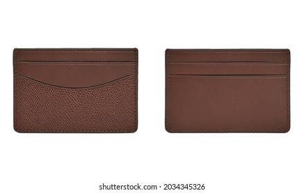Brown business leather card holder isolated on white background. Front and back view