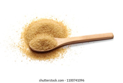 Brown cane sugar pile in wooden spoon isolated on white background, sugarcane texture