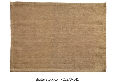 Brown canvas tablecloth isolated on white background