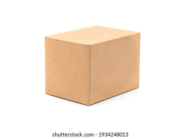 Brown cardboard box isolated on white background with tape. Suitable for packaging.