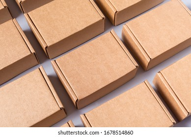 Lot of brown cardboard boxes, copy space - Shutterstock ID 1678514860
