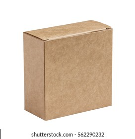brown cardboard  closed  box isolated on a white background, in a vertical position