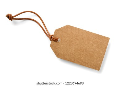 brown cardboard label with slim genuine leather cord,isolated - Shutterstock ID 1228694698
