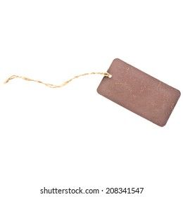brown cardboard on a rope price tag  isolated on white background