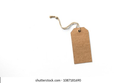 brown cardboard price tag or label isolated on white background.price tag