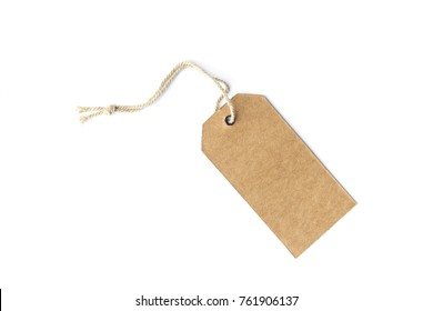 brown cardboard price tag or label with thread isolated white background.