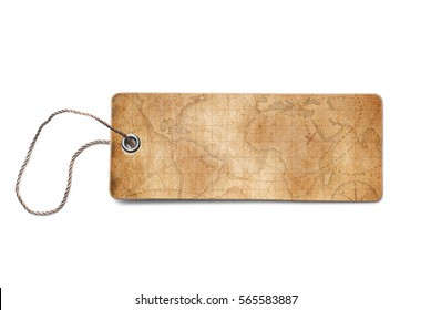 brown cardboard tags with world map piece