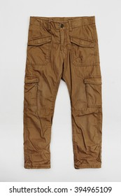 Brown cargo pants in white studio