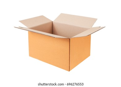 brown carton box, isolated on white background