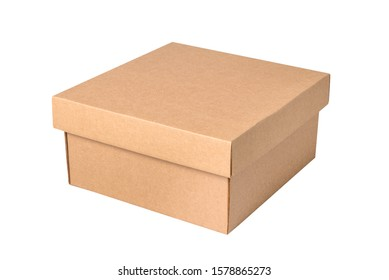 Brown carton gift box with cover, isolated