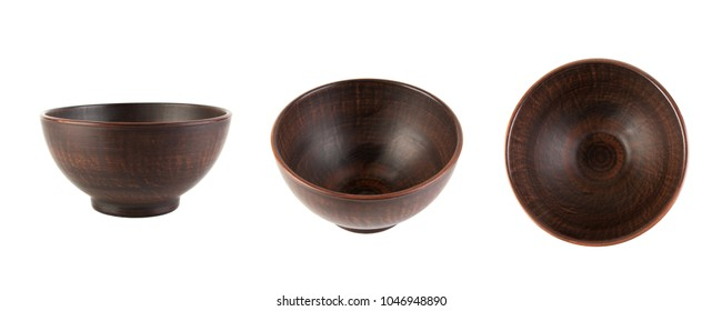 Brown ceramic bowl isolated on white. View from side and from top