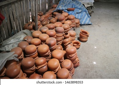 brown ceramic earthenware in factory