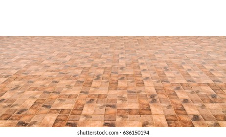 Brown Ceramic Floor Tiles Closeup Texture Isolated On White Background