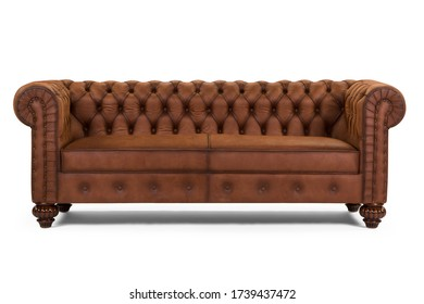 Brown Chester sofa on white background