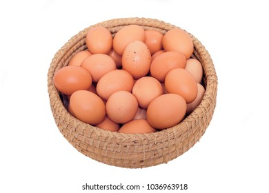 brown chicken egg isolated on white background.