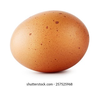 Brown chicken egg speckled isolated on white background