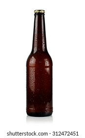 brown chilled bottle of beer on a white background.